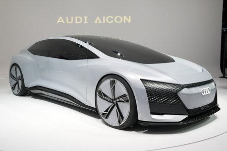 FRANKFURT, GERMANY - SEP 12, 2017: Audi Aicon autonomous electric concept car showcased at the Frankfurt IAA Motor Show 2017. Editorial