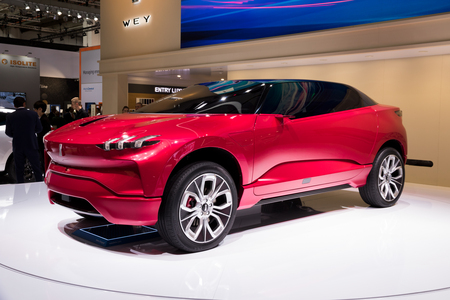FRANKFURT, GERMANY - SEP 12, 2017: Wey XEV concept car at the Frankfurt IAA Motor Show 2017. The XEV is a Chinese plug-in hybrid SUV with gullwing doors.