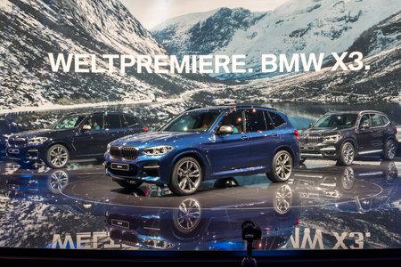 FRANKFURT, GERMANY - SEP 13, 2017: New 2018 BMW X3 car debut at the Frankfurt IAA Motor Show 2017. Editorial