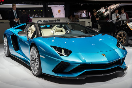 FRANKFURT, GERMANY - SEP 13, 2017: New 2018 Lamborghini Aventador S Roadster sports car presented at the Frankfurt IAA Motor Show 2017. Editorial