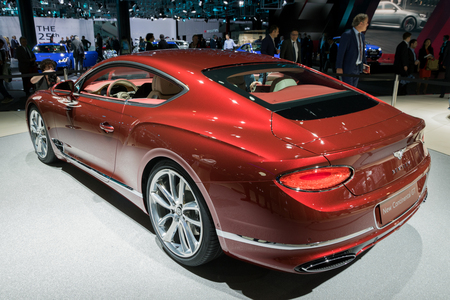 FRANKFURT, GERMANY - SEP 13, 2017: All-new 2018 Bentley Continental GT car presented at the Frankfurt IAA Motor Show 2017.