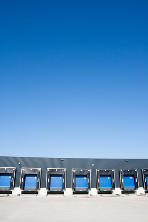 Loading docks with blue sky Stock Photo