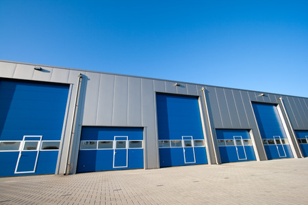 despatch: Industrial Unit with roller shutter doors  Stock Photo