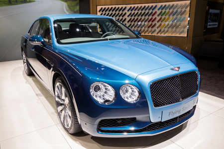 FRANKFURT, GERMANY - SEP 12, 2017: Bentley Flying Spur luxury car showcased at the Frankfurt IAA Motor Show 2017. Editorial