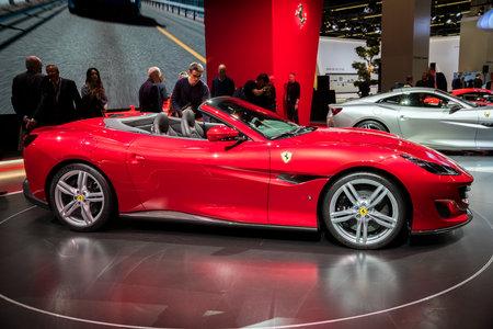 FRANKFURT, GERMANY - SEP 12, 2017: New Ferrari Portofino sports car debut at the Frankfurt IAA Motor Show 2017.