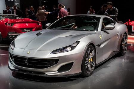 FRANKFURT, GERMANY - SEP 13, 2017: New 2018 Ferrari Portofino sports car world premiere at the Frankfurt IAA Motor Show 2017.