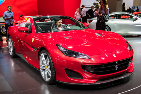 FRANKFURT, GERMANY - SEP 12, 2017: New Ferrari Portofino sports car debut at the Frankfurt IAA Motor Show 2017.