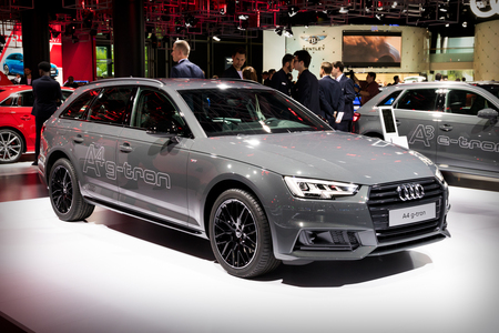FRANKFURT, GERMANY - SEP 12, 2017: Audi A4 g-tron showcased at the Frankfurt IAA Motor Show 2017.