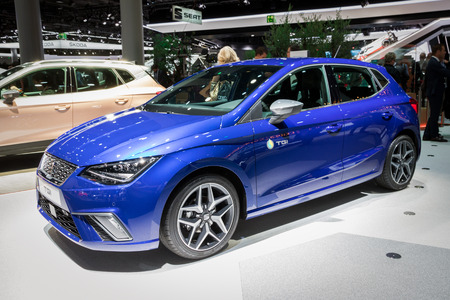 FRANKFURT, GERMANY - SEP 12, 2017: New Seat Leon TGI car showcased at the Frankfurt IAA Motor Show 2017.