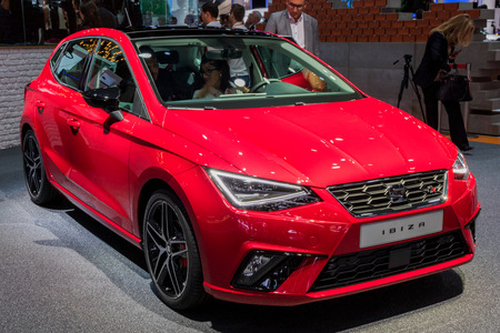FRANKFURT, GERMANY - SEP 12, 2017: Seat Ibiza car showcased at the Frankfurt IAA Motor Show 2017.