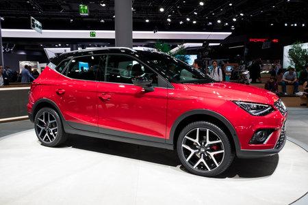 FRANKFURT, GERMANY - SEP 12, 2017: Seat Arona compact SUV car public debut at the Frankfurt IAA Motor Show 2017. Editorial