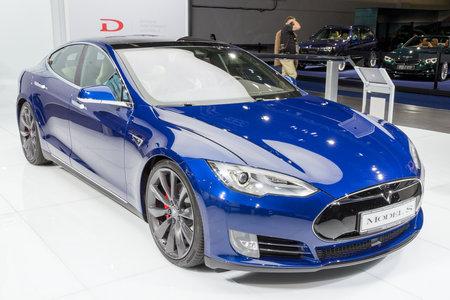 NKFURT, GERMANY - SEP 16, 2015: Tesla model S P90D electric car showcased at the Frankfurt IAA Motor Show. Editorial