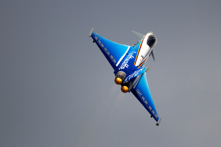 BERLIN - JUN 2, 2016: Special painted German Air Force Eurofighter Typhoon take-off for a flying display at the Berlin ILA Airshow