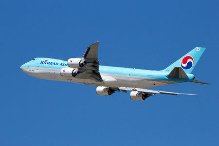 boeing 747: ZARAGOZA, SPAIN - MAY 20,2016: Korean Air Cargo Boeing 747 airplane taking off from Zaragoza airport.