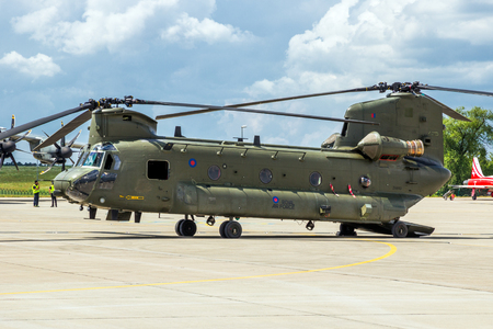 BERLIN - JUN 2, 2016: British Royal Air Force Boeing CH-47 Chinook transport helicopter at the Berlin ILA Airshow.