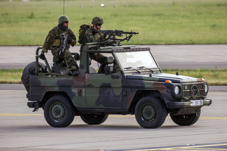 BERLIN - JUN 2, 2016: German Army special forces soldiers during a demonstration at the Berlin ILA airshow.