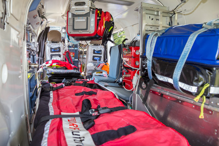 AHLEN, GERMANY - JUN 5, 2016: DRF Luftrettung (German Air Rescue) BK-117 helicopter interior. 에디토리얼