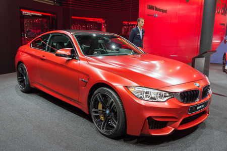 FRANKFURT, GERMANY - SEP 16, 2015: BMW M4 car showcased at the Frankfurt IAA Motor Show.