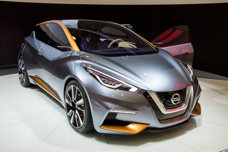 BRUSSELS - JAN 12, 2016:  Nissan Sway concept car showcased at the Brussels Motor Show. Editorial
