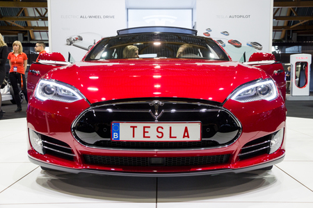 BRUSSELS - JAN 12, 2016: Tesla Model S electric car showcased at the Brussels Motor Show.