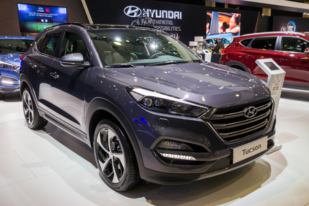BRUSSELS - JAN 12, 2016: Hyundai Tucson compact-suv car showcased at the Brussels Motor Show.