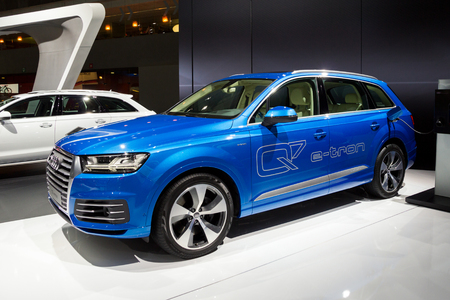 BRUSSELS - JAN 12, 2016: Audi Q7 e-tron plug-in hybrid SUV car showcased at the Brussels Motor Show.
