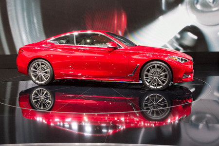 GENEVA, SWITZERLAND - MARCH 1, 2016: New Infiniti Q60 Coupe car showcased at the 86th Geneva International Motor Show. Editorial