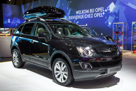 BRUSSELS - JAN 12, 2016: Opel Antara compact crossover SUV car showcased at the Brussels Motor Show.
