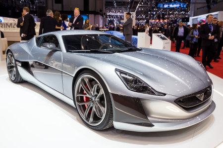 GENEVA, SWITZERLAND - MARCH 1, 2016: Rimac Concept One electric sports car showcased at the 86th Geneva International Motor Show.
