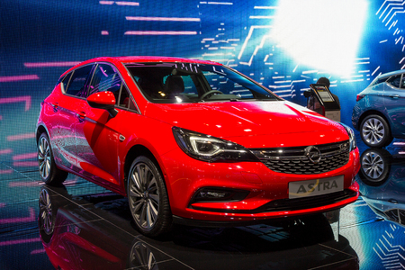 BRUSSELS - JAN 12, 2016: Opel Astra car showcased at the Brussels Motor Show. Stock Photo - 90288526