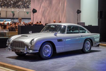 GENEVA, SWITZERLAND - MARCH 1, 2016: 1964 Aston Martin DB5 classic sports car showcased at the 86th Geneva International Motor Show.