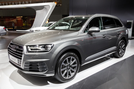 BRUSSELS - JAN 12, 2016: New Audi Q7 SUV car showcased at the Brussels Motor Show.