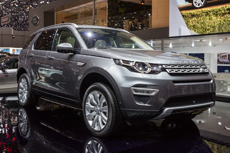 GENEVA, SWITZERLAND - MARCH 1, 2016: Land Rover Discovery Sport SUV car showcased at the 86th Geneva International Motor Show.