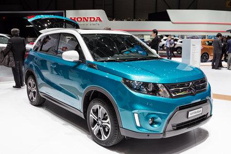 GENEVA, SWITZERLAND - MARCH 1, 2016: Suzuki Vitara SUV car showcased at the 86th Geneva International Motor Show. Редакционное