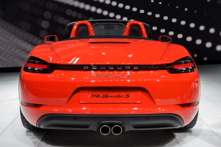 GENEVA, SWITZERLAND - MARCH 1, 2016: New 2017 Porsche 718 Boxster S sports car showcased at the 86th Geneva International Motor Show.