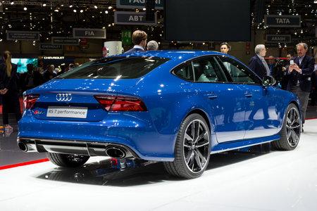 GENÈVE, ZWITSERLAND - MAART 1, 2016: De prestatiesauto van Audi RS7 tentoongesteld bij de 86ste Internationale de Motorshow van Genève.