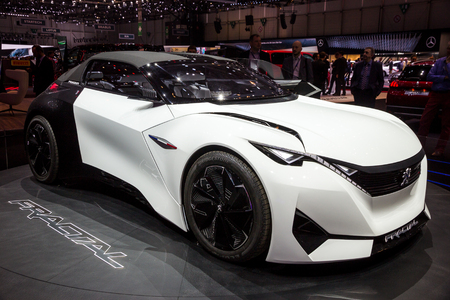 GENEVA, SWITZERLAND - MARCH 1, 2016: Peugeot Fractal electric coupe car showcased at the 86th Geneva International Motor Show.