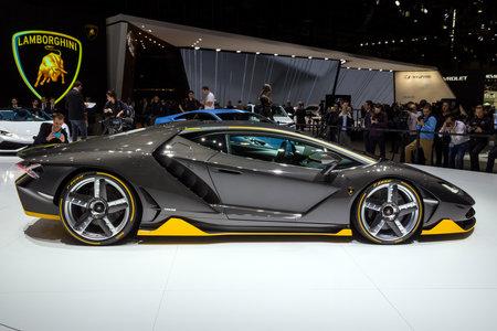 GENEVA, SWITZERLAND - MARCH 1, 2016: Lamborghini LP 770-4 Centenario sports car showcased at the 86th Geneva International Motor Show.