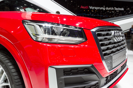 GENEVA, SWITZERLAND - MARCH 1, 2016: Audi Q2 crossover car close up at the 86th Geneva International Motor Show.