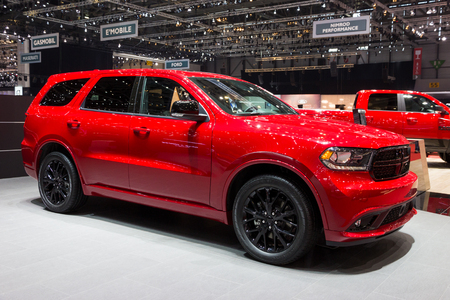 GENEVA, SWITZERLAND - MARCH 1, 2016: 2017 Dodge Durango RT Blacktop SUV car showcased at the 86th Geneva International Motor Show.