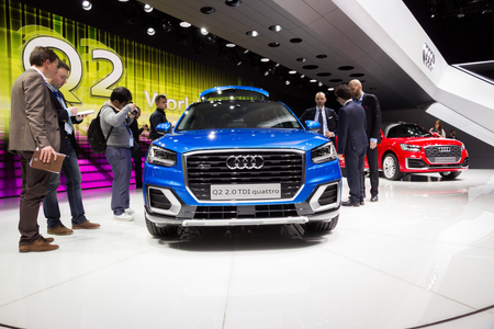 GENEVA, SWITZERLAND - MARCH 1, 2016: Audi Q2 crossover SUV car showcased at the 86th Geneva International Motor Show.