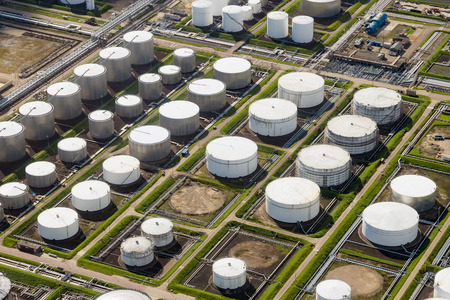 Petroleum, oil and chemical storage depot terminal in an industrial port Stock Photo