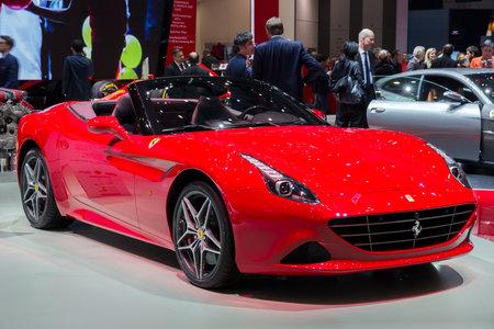 GENEVA, SWITZERLAND - MARCH 1, 2016: Ferrari California T sports car showcased at the 86th Geneva International Motor Show.