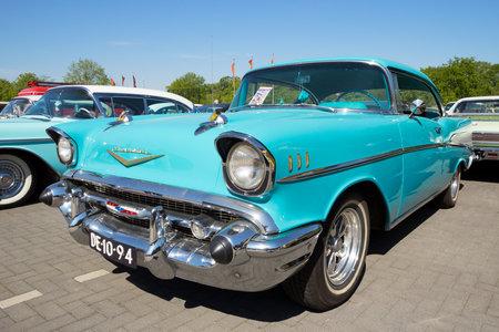 DEN BOSCH, THE NETHERLANDS - MAY 8, 2016: Vintage 1958 Cadillac Sedan De Ville classic car.