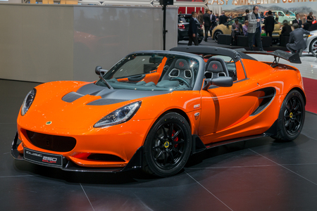 Amazing GENEVA, SWITZERLAND MARCH 1, 2016: Lotus Elise Cup 250 Sports Car Showcased