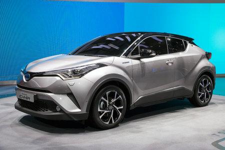 GENEVA, SWITZERLAND - MARCH 1, 2016: New Toyota C-HR crossover SUV car showcased at the 86th Geneva International Motor Show.