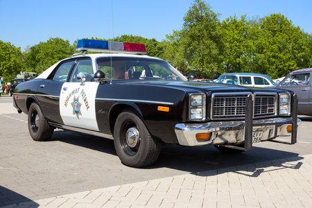 ROSMALEN, THE NETHERLANDS - MAY 8, 2016: Vintage 1978 Dodge Monaco California Police Highway Patrol car.