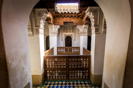 MARRAKECH, MOROCCO - APR 29, 2016: Detailed inside view of the Ben Youssef Madrasa. A former Islamic college in Marrakesh, Morocco. Editorial