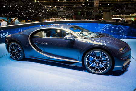 GENEVA, SWITZERLAND - MARCH 7, 2017: New Bugatti Chiron sports car presented at the 87th Geneva International Motor Show.