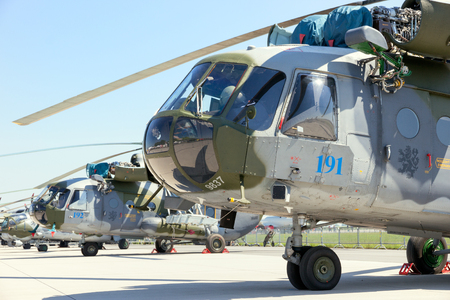 BERLIN, GERMANY - MAY 21, 2014: Czech Air Force Mi-171Sh helicopters on display at the International Aerospace Exhibition ILA.